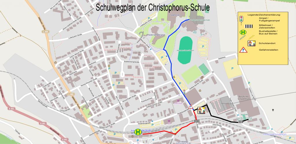 Schulwegeplan der Christophorus-Schule Freudenstadt